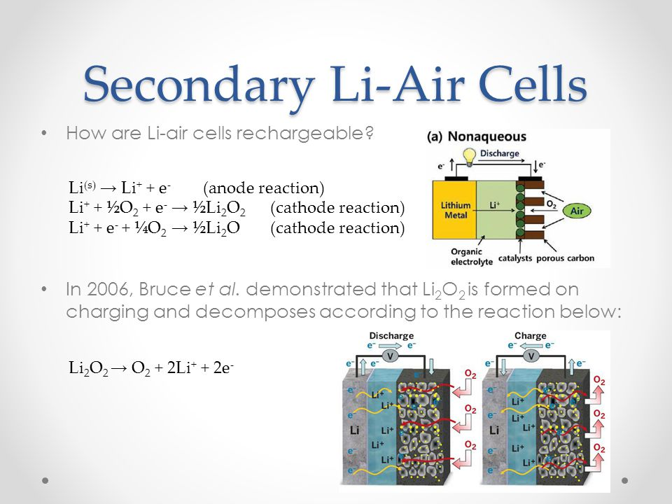 How are Li-air cells rechargeable? In 2006, Bruce et al. demonstrated that Li 2 O 2 is formed on charging and decomposes according to the reaction bel
