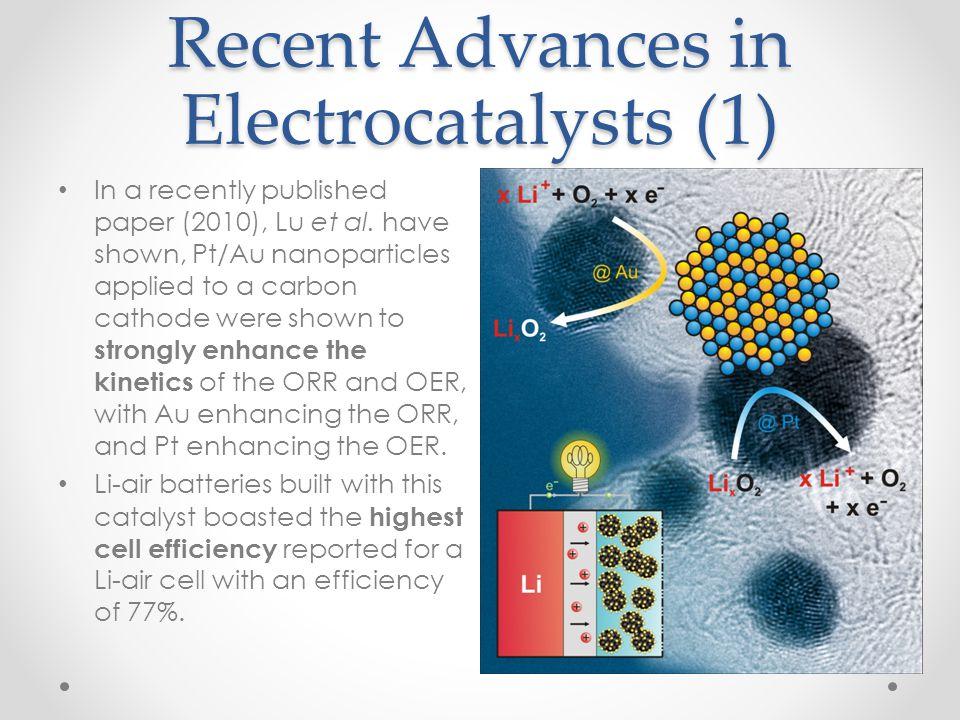 Recent Advances in Electrocatalysts (1) In a recently published paper (2010), Lu et al. have shown, Pt/Au nanoparticles applied to a carbon cathode we