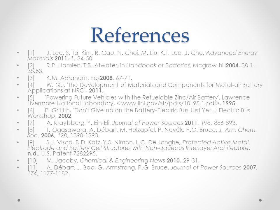 References [1] J. Lee, S. Tai Kim, R. Cao, N. Choi, M. Liu, K.T. Lee, J. Cho, Advanced Energy Materials 2011, 1, 34-50. [2] R.P. Hamlen, T.B. Atwater,
