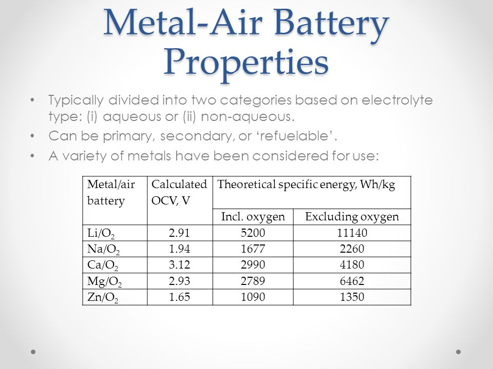 Metal-Air Battery Properties Typically divided into two categories based on electrolyte type: (i) aqueous or (ii) non-aqueous. Can be primary, seconda