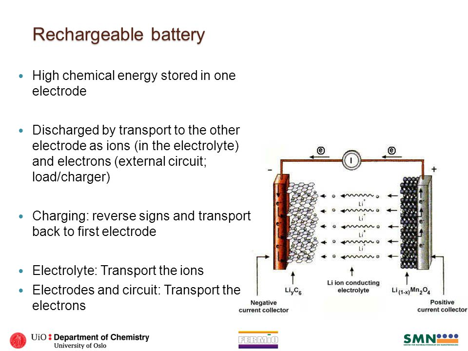 Electrodes Two electrodes: Must share one ion with the electrolyte The reduction potential of one charged half cell minus the reduction potential of the other one gives the voltage of the battery.