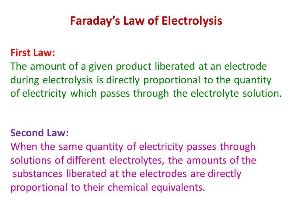 The electrical Unit Faraday The quantity of electricity required to liberate one gram-equivalent of a substance is 96,500 coulombs.