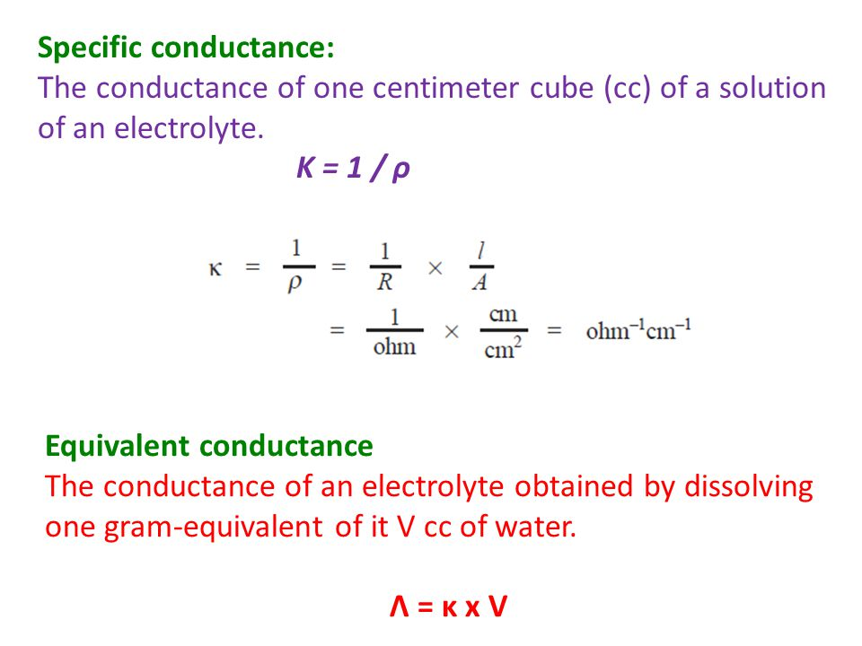 Molar conductance The conduction of all ions produced by one mole (one gram-molecular weight) of an electrolyte when dissolved in a certain volume V cc.