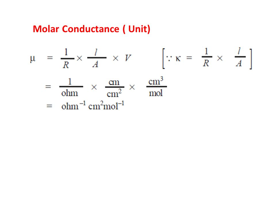 Kohlrausch's Law The equivalent conductance of an electrolyte at infinite dilution is equal to the sum of the equivalent conductances of the component ions.