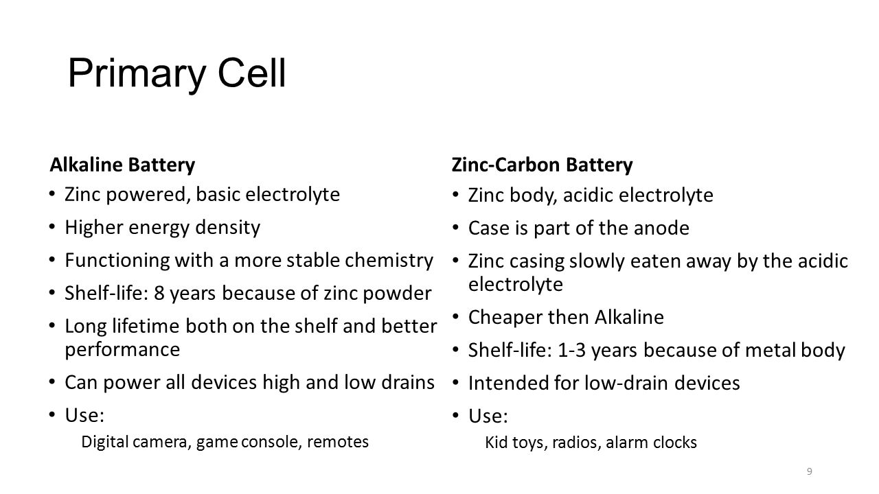 Primary Cell Alkaline Battery Zinc powered, basic electrolyte Higher energy density Functioning with a more stable chemistry Shelf-life: 8 years becau