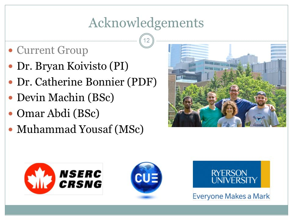 Acknowledgements 12 Current Group Dr. Bryan Koivisto (PI) Dr.