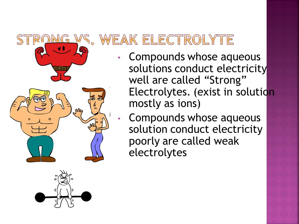 "Compounds whose aqueous solutions conduct electricity well are called ""Strong"" Electrolytes. (exist in solution mostly as ions) Compounds whose aqueou"