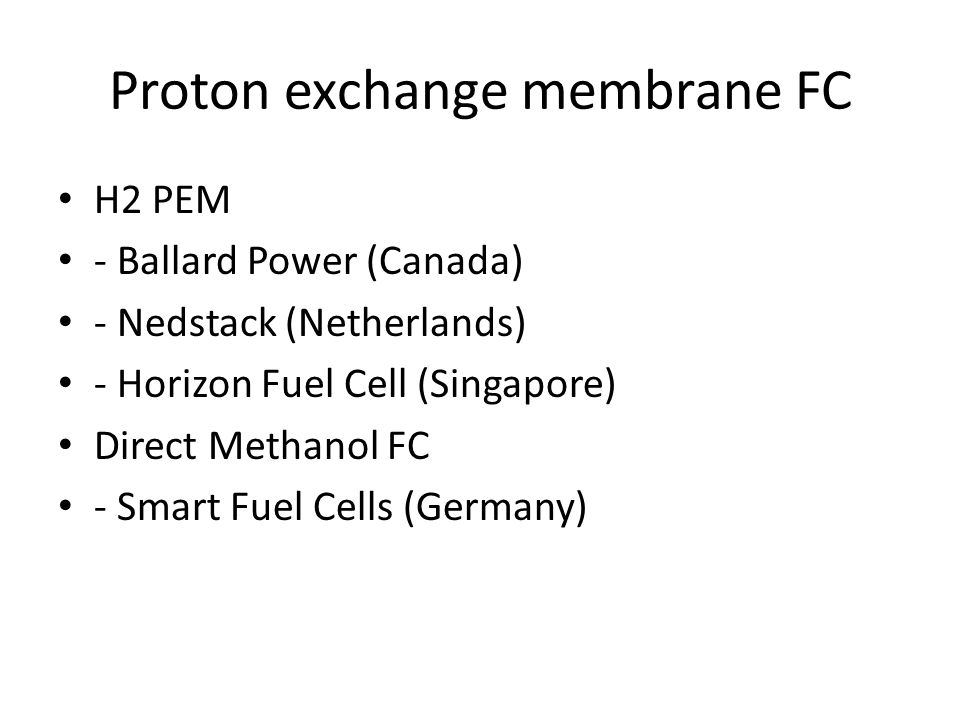 Proton exchange membrane FC H2 PEM - Ballard Power (Canada) - Nedstack (Netherlands) - Horizon Fuel Cell (Singapore) Direct Methanol FC - Smart Fuel Cells (Germany)
