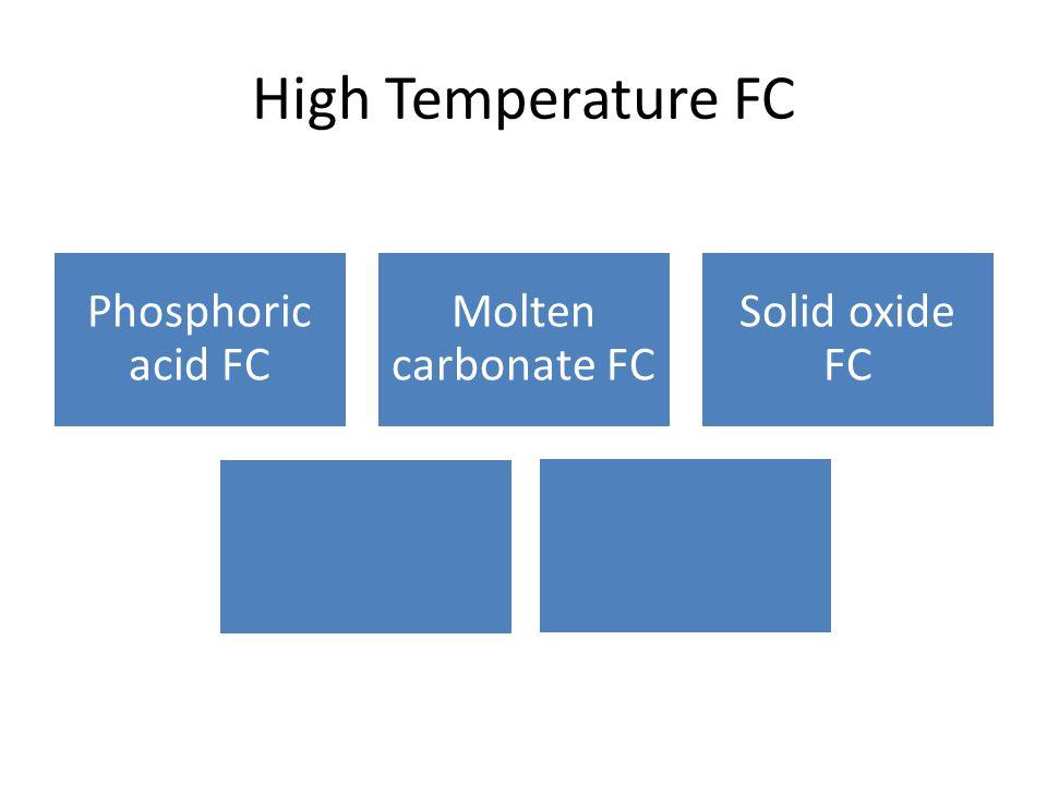 High Temperature FC Phosphoric acid FC Molten carbonate FC Solid oxide FC