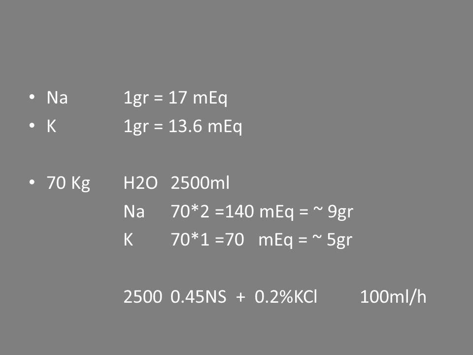 Na 1gr = 17 mEq K1gr = 13.6 mEq 70 KgH2O2500ml Na70*2 =140 mEq = ~ 9gr K70*1 =70 mEq = ~ 5gr 2500 0.45NS + 0.2%KCl 100ml/h