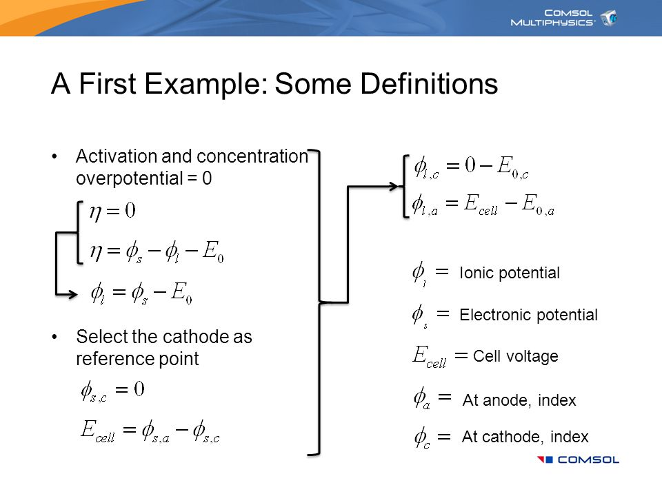 A First Example: Some Definitions Activation and concentration overpotential = 0 Select the cathode as reference point Electronic potential Cell volta