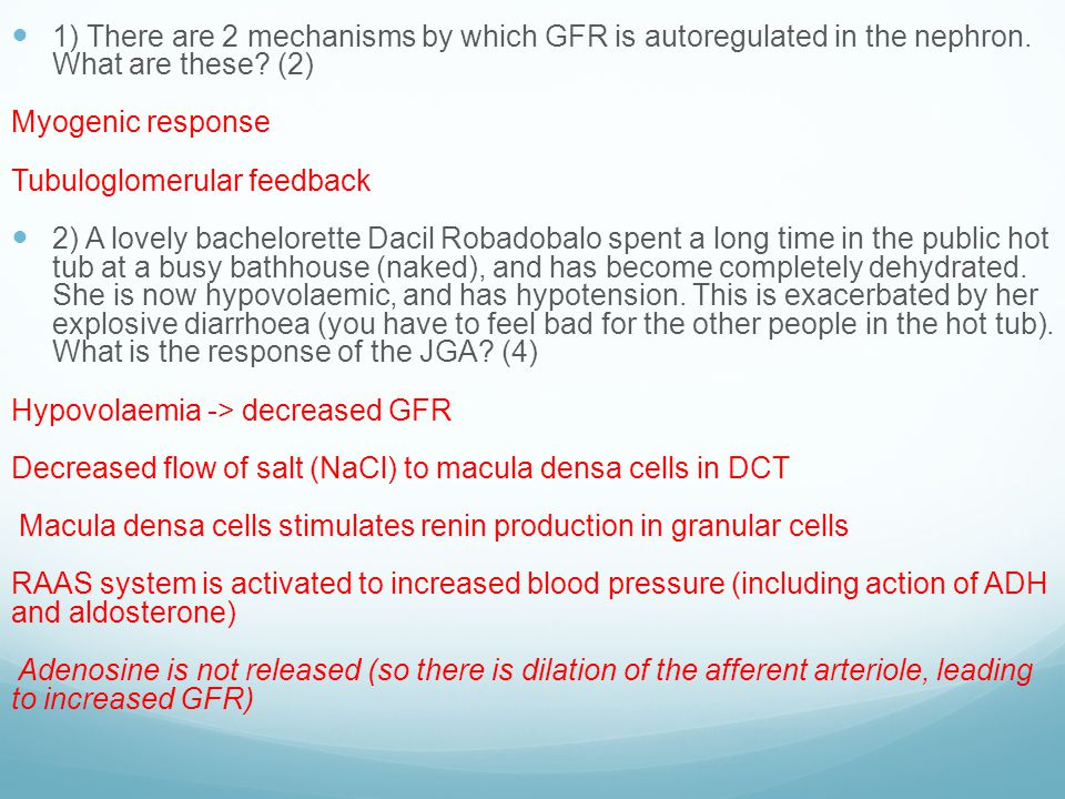 1) There are 2 mechanisms by which GFR is autoregulated in the nephron.