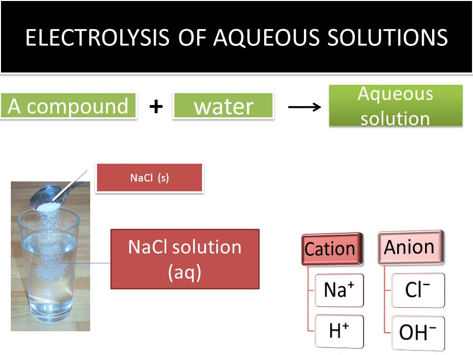 ELECTROLYSIS OF AQUEOUS SOLUTIONS A compound water Aqueous solution NaCl solution (aq) NaCl (s) +