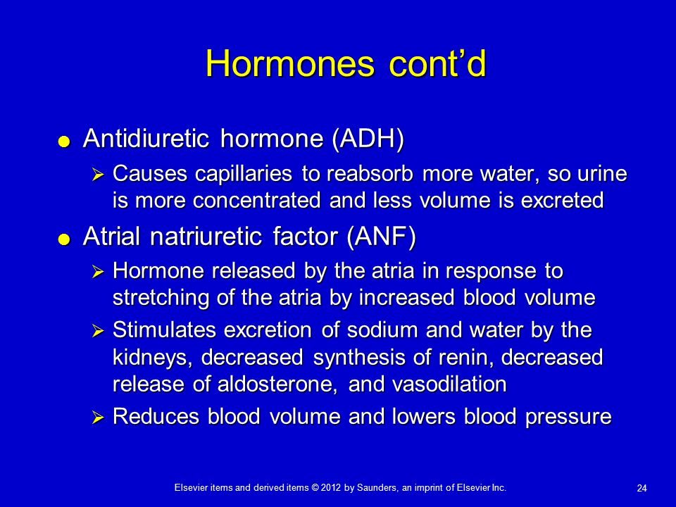 Elsevier items and derived items © 2012 by Saunders, an imprint of Elsevier Inc. 24 Hormones cont'd  Antidiuretic hormone (ADH)  Causes capillaries