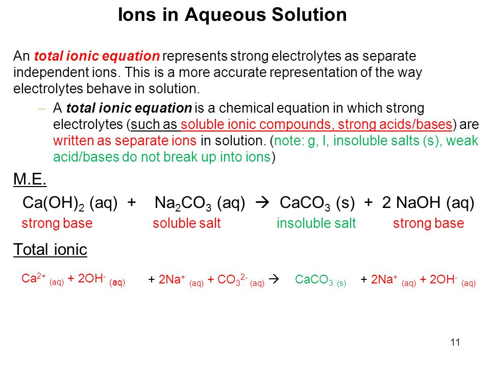 11 An total ionic equation represents strong electrolytes as separate independent ions.