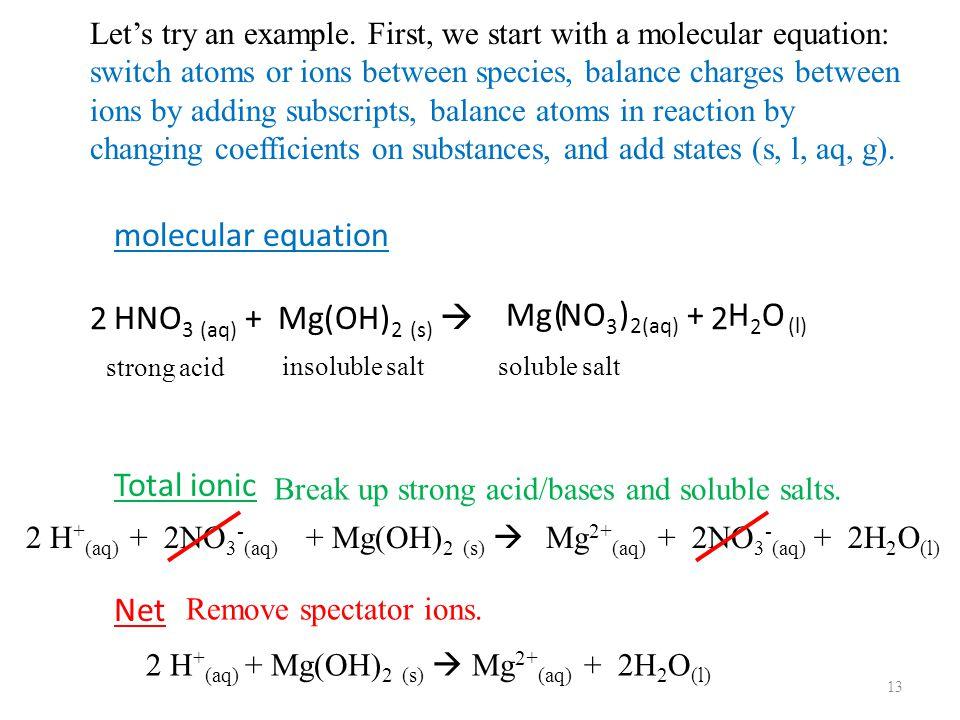 molecular equation HNO 3 (aq) + Mg(OH) 2 (s)  Total ionic Net 13 Mg NO 3 + H 2 O ( ) 2 2 (aq) (l) strong acid 2 H + (aq) + 2NO 3 - (aq) insoluble salt + Mg(OH) 2 (s)  soluble salt Mg 2+ (aq) + 2NO 3 - (aq) + 2H 2 O (l) 2 H + (aq) + Mg(OH) 2 (s)  Mg 2+ (aq) + 2H 2 O (l) Let's try an example.