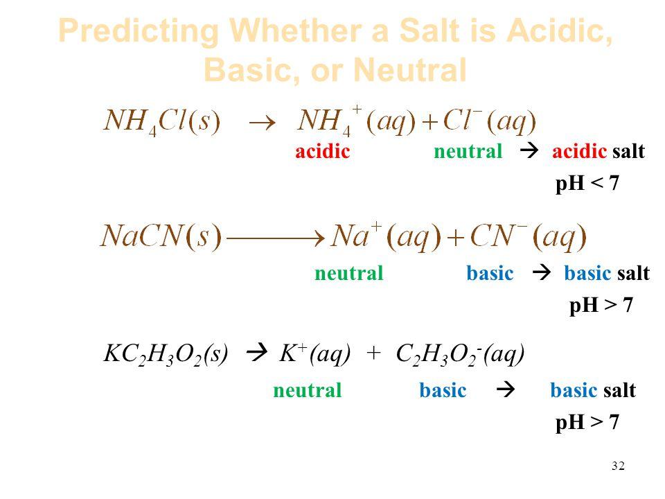 32 Predicting Whether a Salt is Acidic, Basic, or Neutral acidic neutral  acidic salt pH < 7 neutral basic  basic salt pH > 7 KC 2 H 3 O 2 (s)  K + (aq) + C 2 H 3 O 2 - (aq) neutral basic  basic salt pH > 7