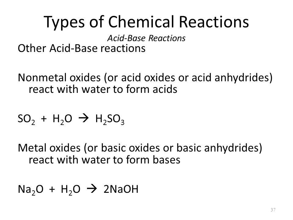 Types of Chemical Reactions Acid-Base Reactions Other Acid-Base reactions Nonmetal oxides (or acid oxides or acid anhydrides) react with water to form acids SO 2 + H 2 O  H 2 SO 3 Metal oxides (or basic oxides or basic anhydrides) react with water to form bases Na 2 O + H 2 O  2NaOH 37