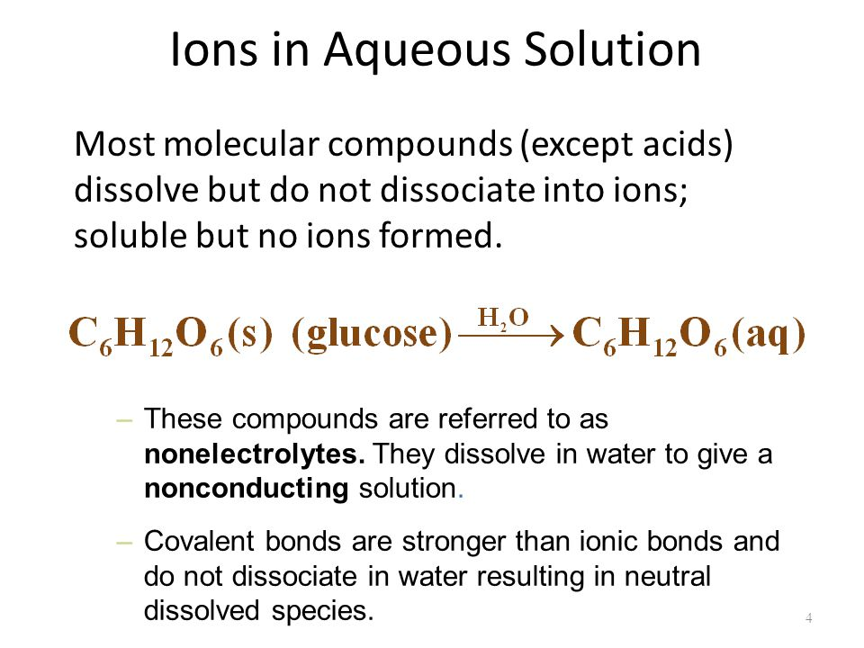Ions in Aqueous Solution Most molecular compounds (except acids) dissolve but do not dissociate into ions; soluble but no ions formed.