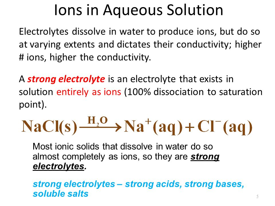 Ions in Aqueous Solution Electrolytes dissolve in water to produce ions, but do so at varying extents and dictates their conductivity; higher # ions, higher the conductivity.