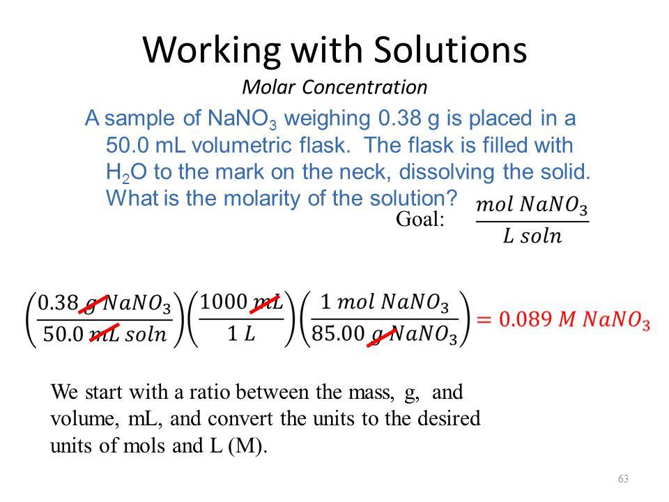 Working with Solutions Molar Concentration 63 A sample of NaNO 3 weighing 0.38 g is placed in a 50.0 mL volumetric flask.