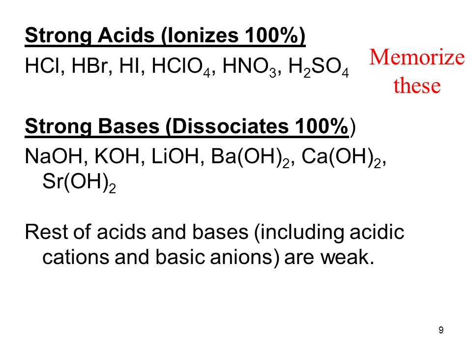 9 Strong Acids (Ionizes 100%) HCl, HBr, HI, HClO 4, HNO 3, H 2 SO 4 Strong Bases (Dissociates 100%) NaOH, KOH, LiOH, Ba(OH) 2, Ca(OH) 2, Sr(OH) 2 Rest of acids and bases (including acidic cations and basic anions) are weak.