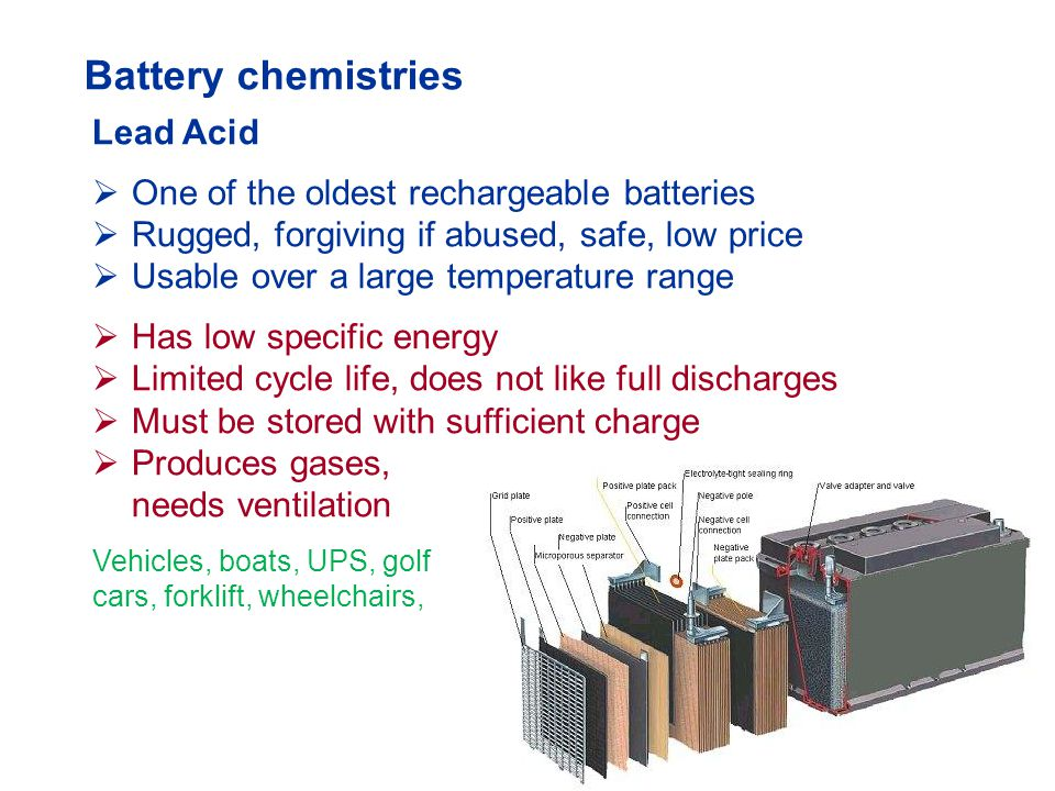 Types of Lead Acid Batteries  Flooded (liquid electrolyte, needs water)  Gel (electrolyte in gelled, maintenance free)  AGM (absorbent glass mat, maintenance free) Lead acids come as starter, deep-cycle and stationary battery