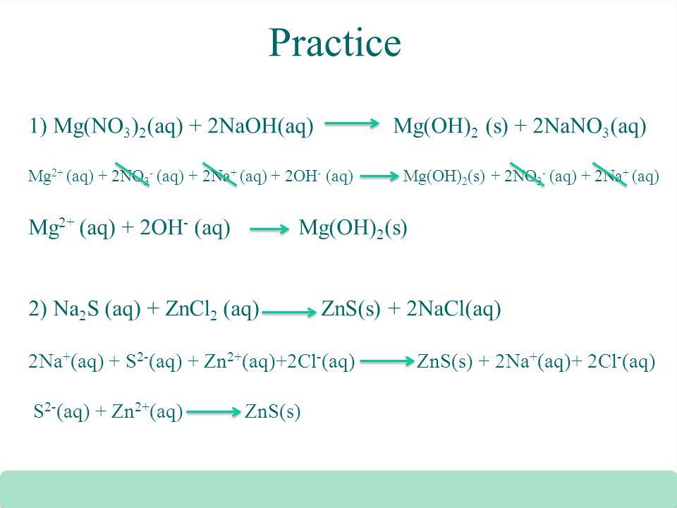 Practice 1) Mg(NO 3 ) 2 (aq) + 2NaOH(aq) Mg(OH) 2 (s) + 2NaNO 3 (aq) Mg 2+ (aq) + 2NO 3 - (aq) + 2Na + (aq) + 2OH - (aq) Mg(OH) 2 (s) + 2NO 3 - (aq) +
