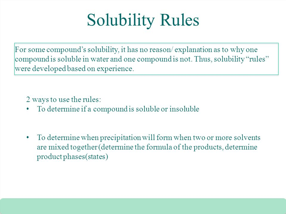 Solubility Rules Zumdahl Solubility Rules For Some