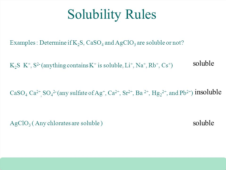 Solubility Rules Zumdahl Solubility Rules Examples