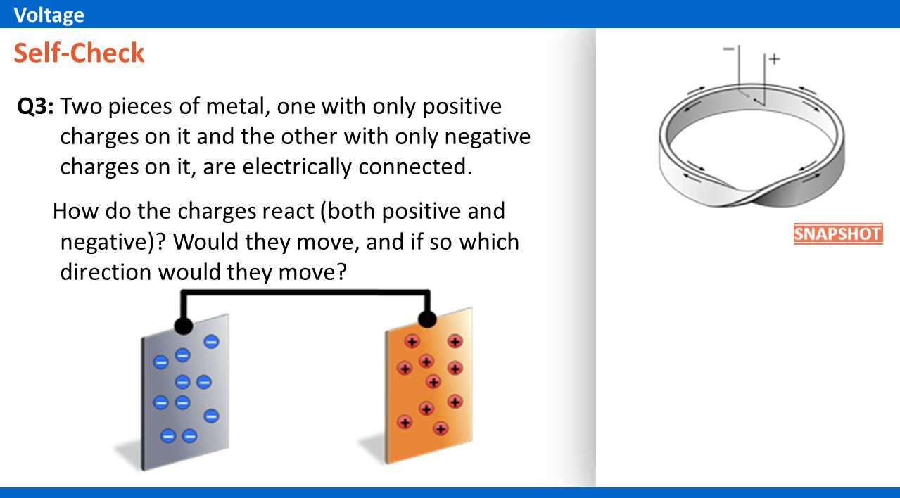 Self-Check Q3: Two pieces of metal, one with only positive charges on it and the other with only negative charges on it, are electrically connected.