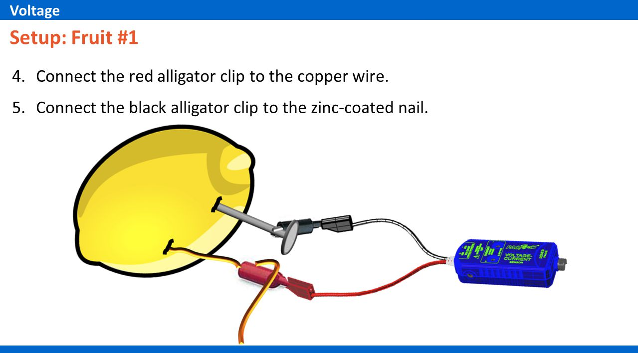 4.Connect the red alligator clip to the copper wire.