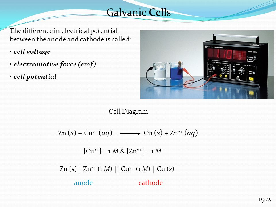 Galvanic Cells 19.2 The difference in electrical potential between the anode and cathode is called: cell voltage electromotive force (emf) cell potent