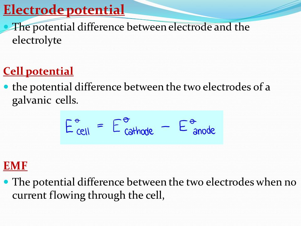It shows the relationship between the electrode potential and concentration of the solution.