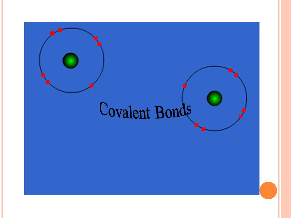 2 )Covalent Bonds Results from sharing of electrons by two atoms such as H-H, Cl-Cl, H-Cl and so on. Polar covalent bond ( between two atoms different
