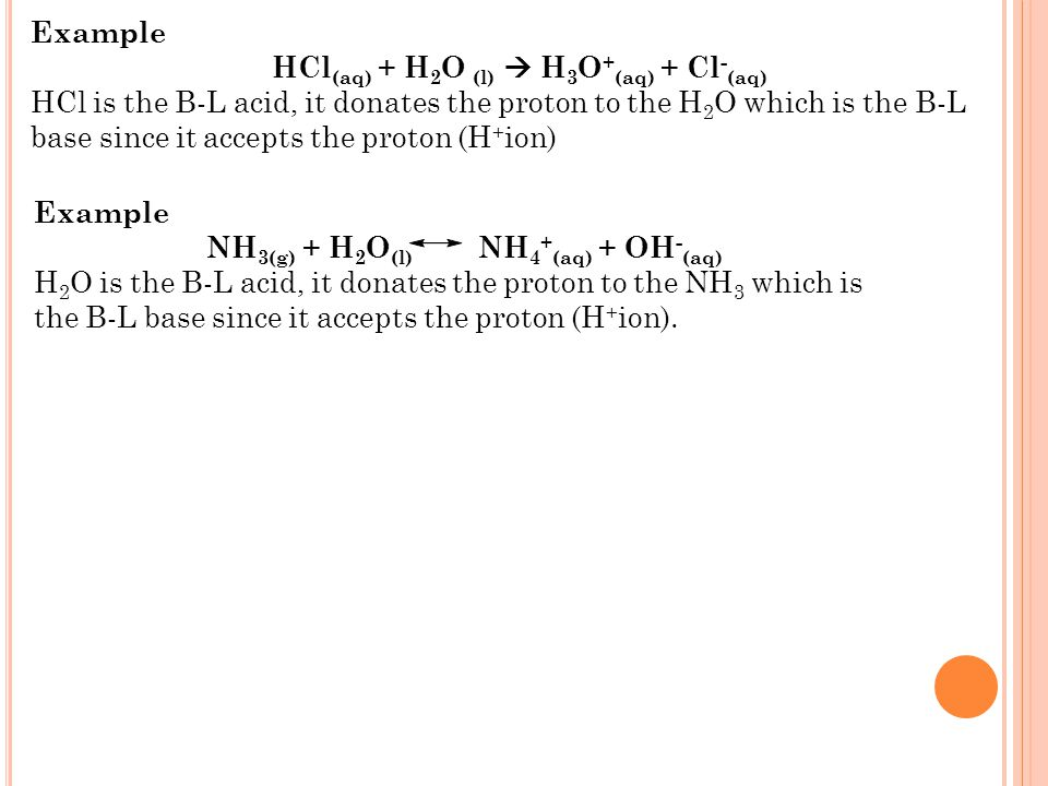 Examples of the acid-base reactions: Reaction of Sodium hydroxide and Nitric acid & reaction of Potassium hydroxide and Sulfuric acid. The Brønsted -