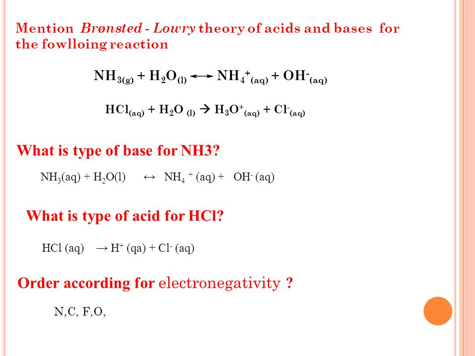 Mention types of reaction? Base Acids solute electrolyte Define and give example