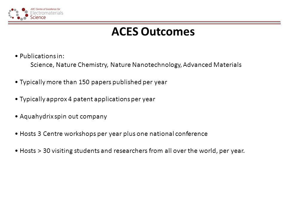 ACES Outcomes Publications in: Science, Nature Chemistry, Nature Nanotechnology, Advanced Materials Typically more than 150 papers published per year Typically approx 4 patent applications per year Aquahydrix spin out company Hosts 3 Centre workshops per year plus one national conference Hosts > 30 visiting students and researchers from all over the world, per year.