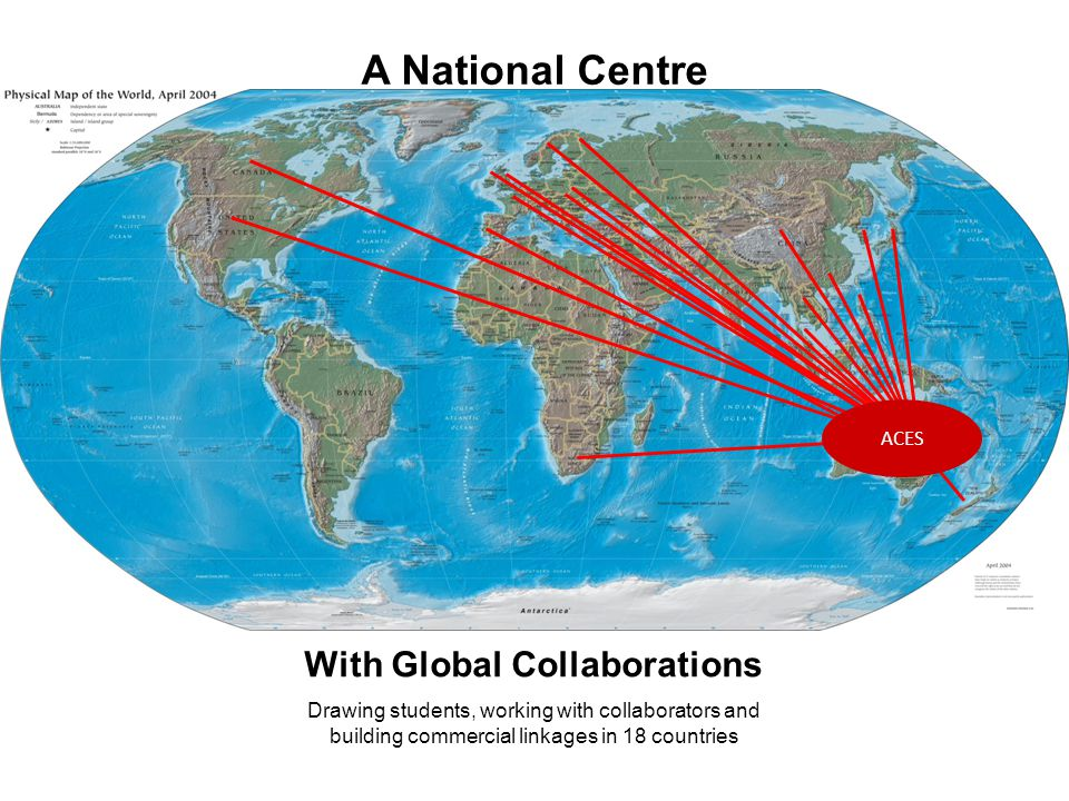 A National Centre With Global Collaborations ACES Drawing students, working with collaborators and building commercial linkages in 18 countries