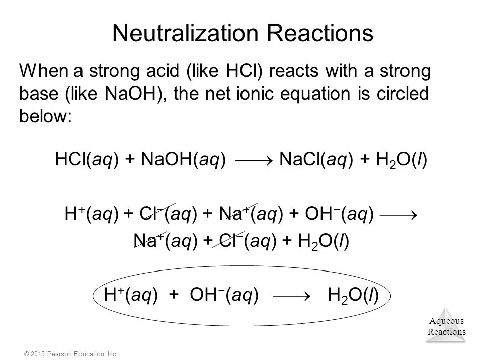 Aqueous Reactions © 2015 Pearson Education, Inc. Neutralization Reactions When a strong acid (like HCl) reacts with a strong base (like NaOH), the net