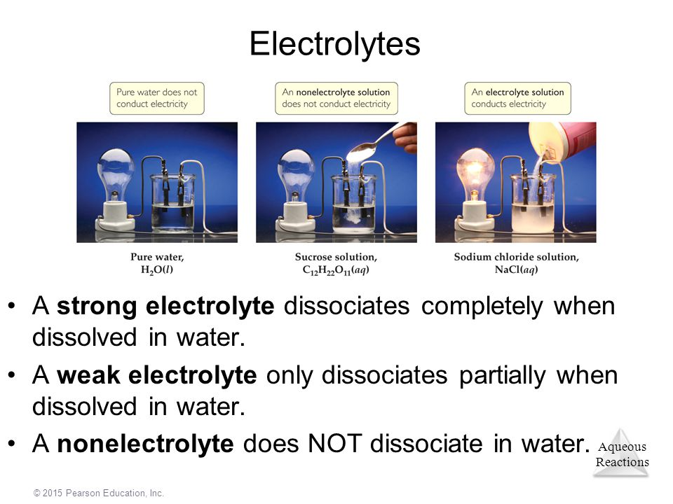 Aqueous Reactions © 2015 Pearson Education, Inc. Electrolytes A strong electrolyte dissociates completely when dissolved in water. A weak electrolyte