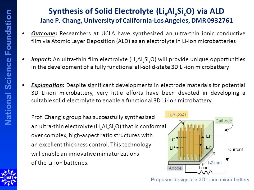 National Science Foundation Synthesis of Solid Electrolyte (Li x Al y Si z O) via ALD Jane P.