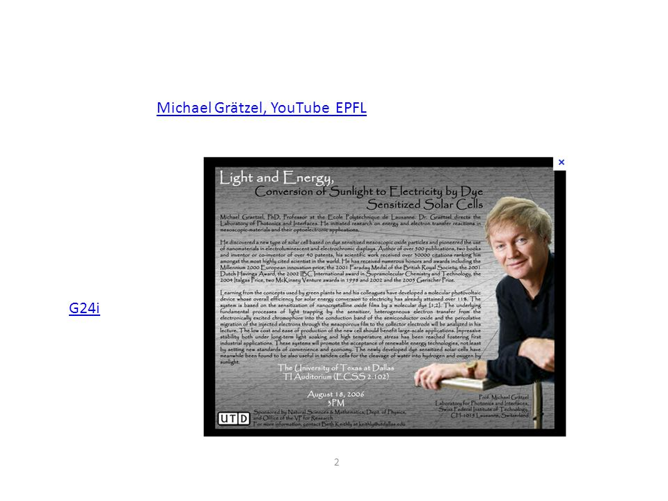 2 Michael Grätzel, YouTube EPFL G24i