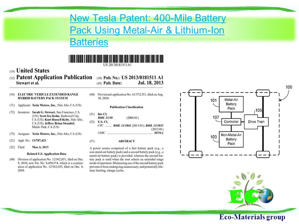 Eco-Materials group New Tesla Patent: 400-Mile Battery Pack Using Metal-Air & Lithium-Ion Batteries