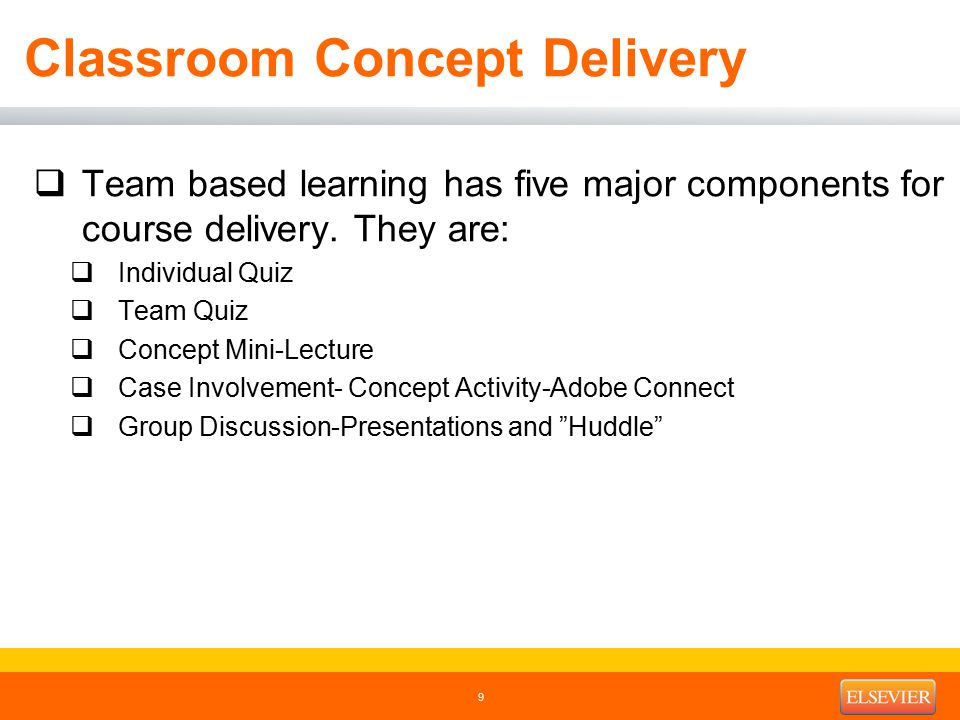Classroom Concept Delivery  Team based learning has five major components for course delivery.
