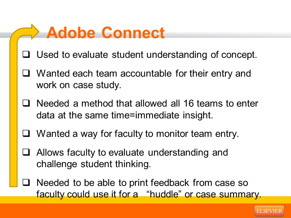 Adobe Connect  Used to evaluate student understanding of concept.  Wanted each team accountable for their entry and work on case study.  Needed a m