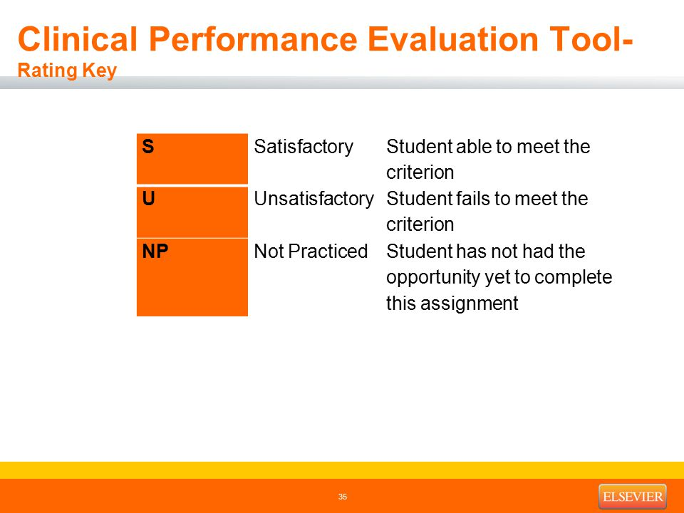 Clinical Performance Evaluation Tool- Rating Key 35 SSatisfactory Student able to meet the criterion UUnsatisfactory Student fails to meet the criterion NPNot PracticedStudent has not had the opportunity yet to complete this assignment
