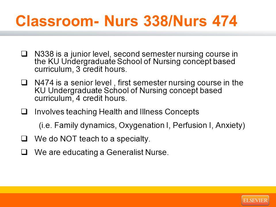 Classroom- Nurs 338/Nurs 474  N338 is a junior level, second semester nursing course in the KU Undergraduate School of Nursing concept based curriculum, 3 credit hours.