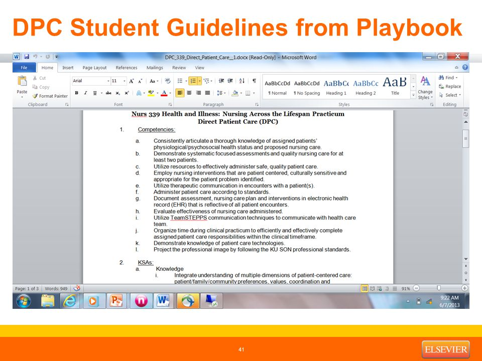 DPC Student Guidelines from Playbook 41