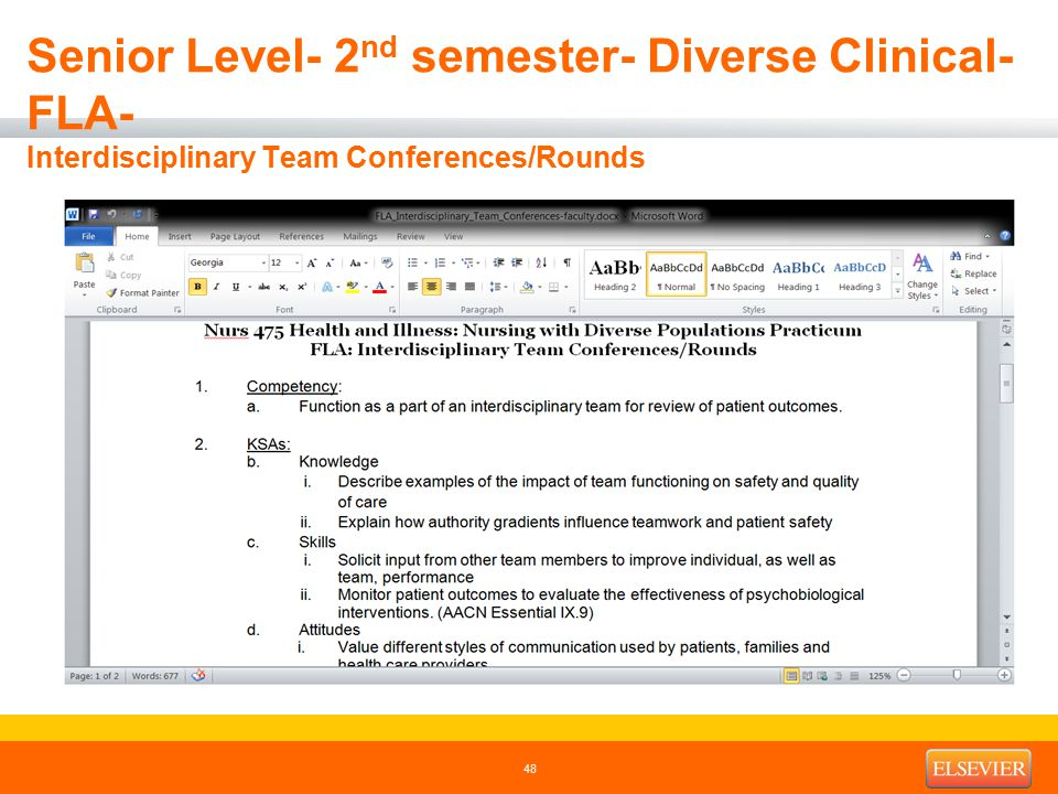 Senior Level- 2 nd semester- Diverse Clinical- FLA- Interdisciplinary Team Conferences/Rounds 48